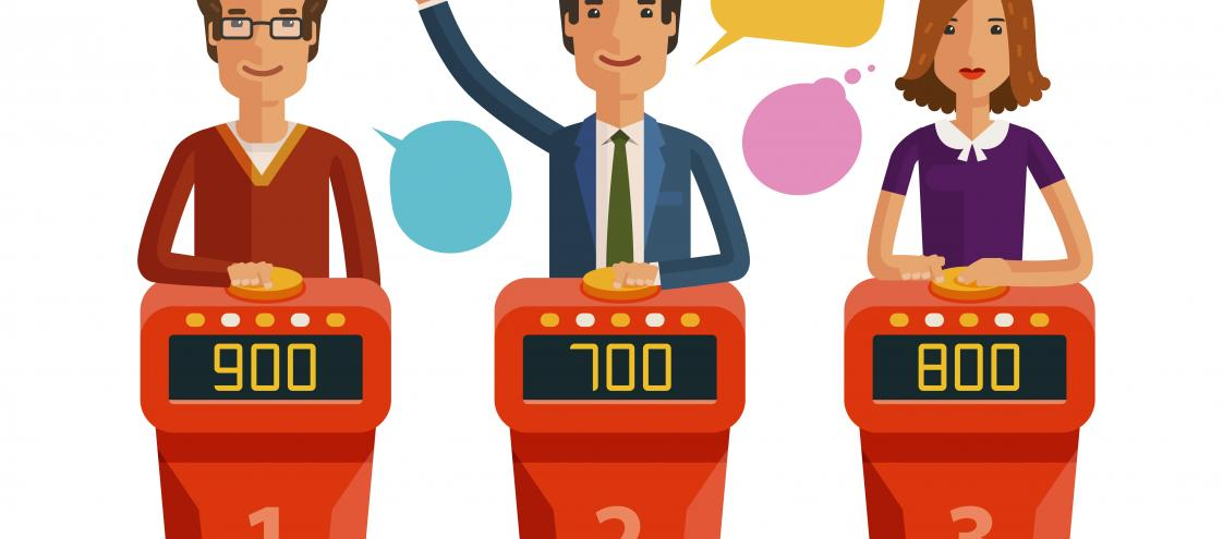 Quiz show game concept. Players answering questions standing at stand with buttons. Vector flat illustration